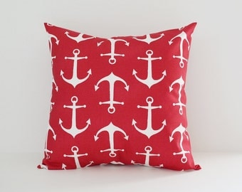Nautical Pillow Cover Decorative Pillows Anchors Throw Pillows Red Pillow 8 Sizes Available
