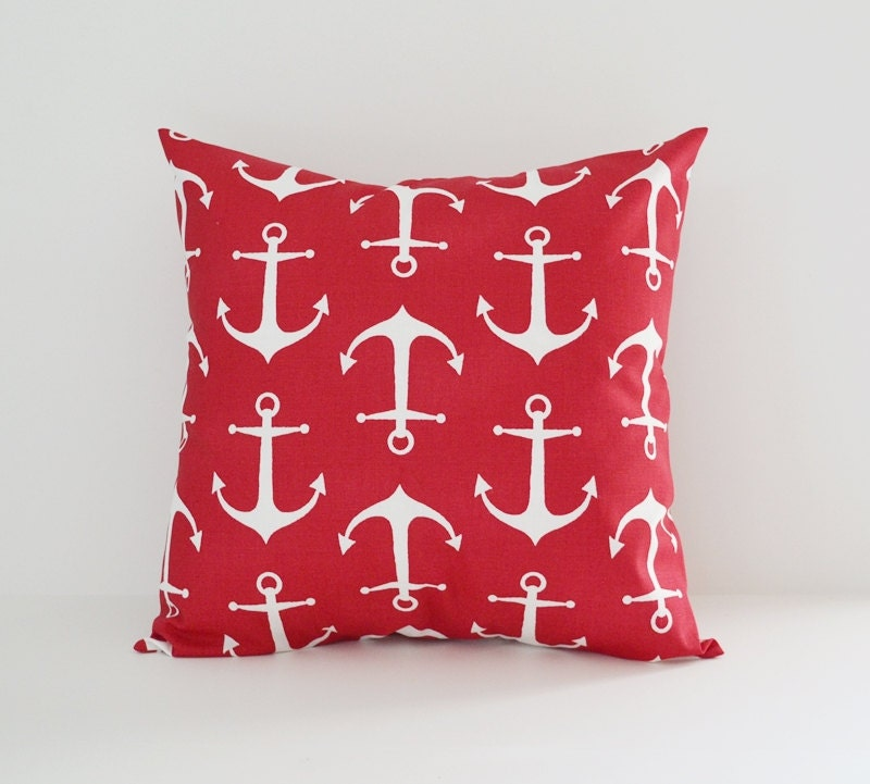 Throw Pillow Covers Nautical : Nautical Pillow Cover Decorative Pillows Anchors Throw Pillows