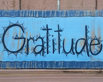 Gratitude Hand-painted Wood Sign Beach Style Navy