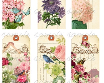 Instant Download - Hang Tags  -  Vintage  Up scale -  Printable Digital Collage Sheet - Download
