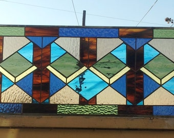 "Stained glass Window Panel -  ""Geometric Layouts Style"" (W-65)"