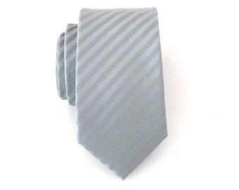 Mens Ties. Necktie Skinny Necktie Gray Tonal Stripes Skinny Tie