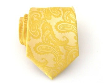 Mens Ties Necktie Gold and Yellow Paisley Mens Tie
