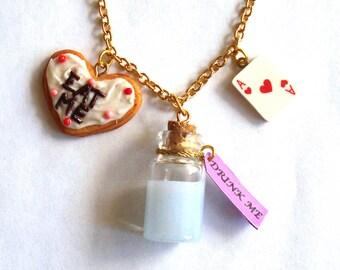 Alice in Wonderland Necklace Drink Me Necklace Eat Me Necklace Wonderland Jewelry