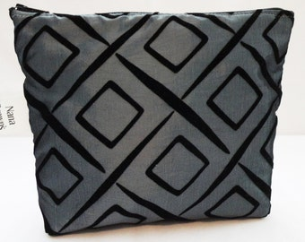 Zipper Pouch Cosmetic Bag  Make up Bag - Small - Satin & Velvet