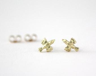 SALE!! Gold Bird Earrings. 18ct Yellow Gold. Handmade Ear Studs. Made in Brighton, UK.