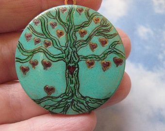Engraved Whimsical Tree of love on verdigris vintage brass locket version six valentine gift