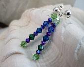 Green Blue Purple Crystal Dangling Post Earrings
