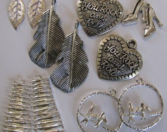 10 Metal Pendant Leaf and Heart  2 Each Earring Assortment  Britz Beads Supply