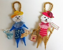 Bichon Frise BEACH vintage style CHENILLE ORNAMENTS feather tree set of 2