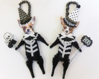Chihuahua SKELETON Halloween vintage style CHENILLE ORNAMENTS set of 2