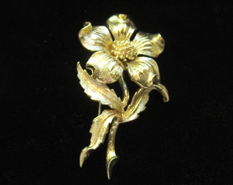 Vintage Marcel Boucher Gold Tone Flower Pin Brooch