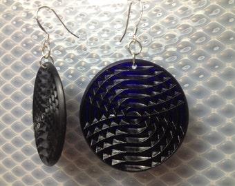 Textured minidisc earrings in cobalt blue.