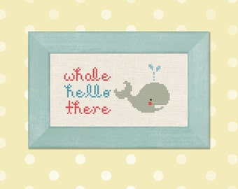 Whale Hello There. Pun Modern Simple Cute Cross Stitch Pattern PDF File. Instant Download
