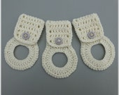 Kitchen Towel Holders , Crochet Towel Hangers, Housewarming Gift, Home Decor,Removable , Off White
