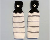 Hanging Kitchen Towels ,Crochet Button Top, Matching Pair,Hostess Gift, Hanging Kitchen Towel Set Black and White