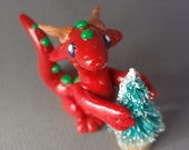Christmas Red Green and Gold Polymer Clay Dragon Hand Sculpted by Kumoriyori