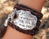 Quote Jewelry, Quote Bracelet, Quote Leather Wrap Bracelet, Inspirational Quote Wrap Bracelet She's WHISKEY in a TEA CUP Quote Wrap Bracelet