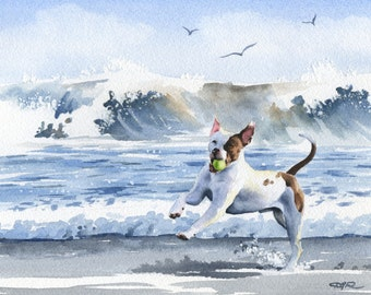 """PIT BULL Terrier Art Print """"Pit Bull Terrier At The Beach"""" Signed by Artist DJ Rogers"""