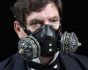 "Steampunk Gas Mask Respirator in silver & brass colors ""Infiltrator"""