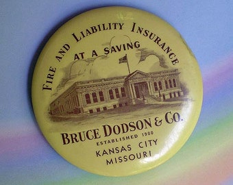 Vintage 1900s Insurance Advertising Pocket Mirror Kansas City 1920s