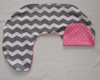 Gray and White Chevron and Hot Pink Minky Dot Nursing Pillow Cover Fits Boppy CHOICE OF MINKY