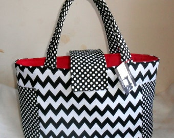Large Black and White Chevron Diaper Bag Tote with Red Interior