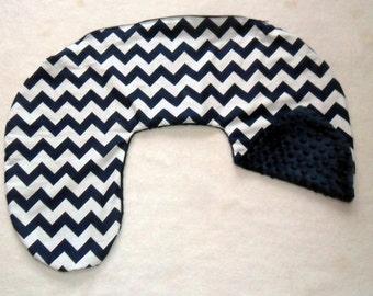 Navy Blue Chevron and Minky Dot Nursing Pillow Cover Fits Boppy CHOICE OF MINKY
