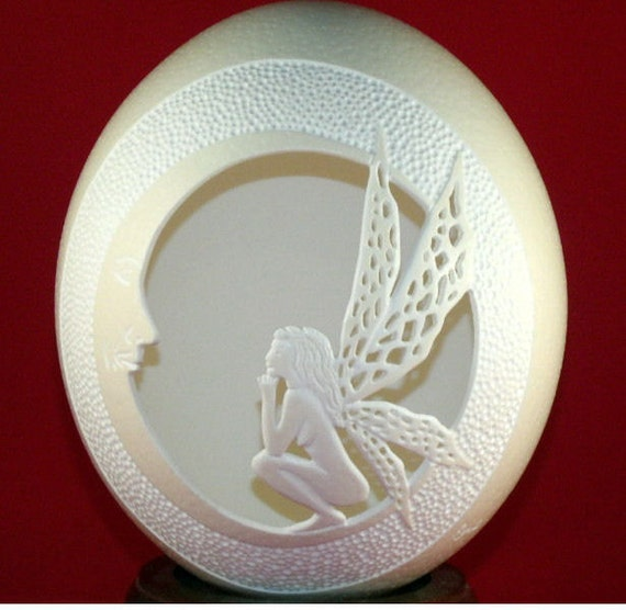 Carved and Sculpted Ostrich Egg Shell, Fairy / Moon