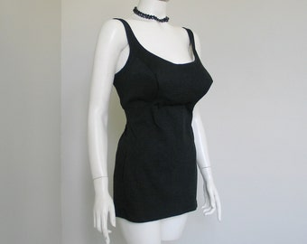 Vintage DeWeese Design Black One Piece Classic Swimsuit Bathing Suit Tank Suit PinUp M L