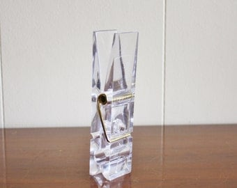Modern lucite large clothespin, office paperclip
