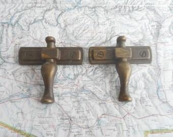 SALE! 2 vintage curvy distressed brass metal handles