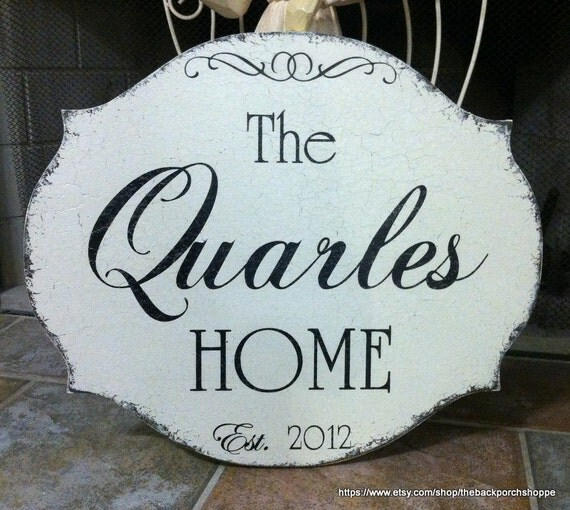 CUSTOM FAMILY SIGN - Wedding Signs - Shabby Cottage Signs - Personalized Signs -  20 x 17