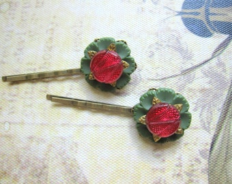 Button Bobby Pins, Boho Hair Pins, Bohemian, Button Flower Bobby Pin, Green, Cranberry, Woodland Hair Pin, Button Hair Clips, Nature, Button