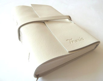 Personalised Leather Journal, White