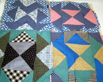 Vintage lot of 18 Quilt Squares -  Half Square Pattern - Hand stitched