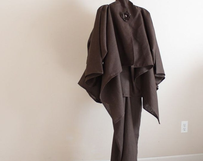 linen outfit fold dress with wrap jacket / custom order / linen dress / linen wrap jacket / brown linen / wedding event outfit /