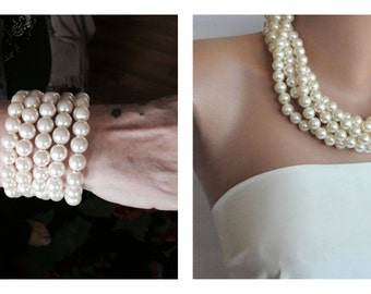 Wedding Pearl Jewelry Set , Bridal Necklace and Bracelet