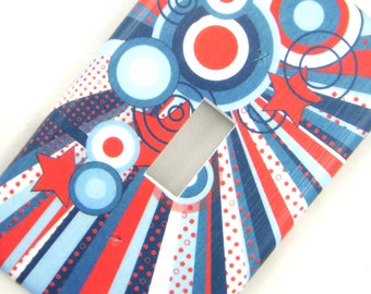 Light Switch Cover Switchplate -- Blue and Red Circle Burst