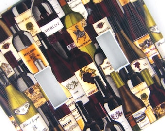 Double Light Switch Cover Switchplate -- Wine Bottles