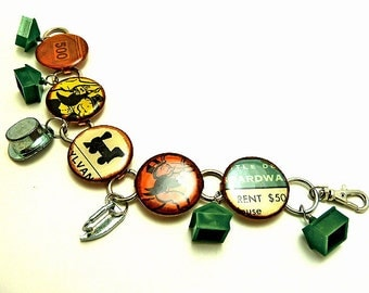 Repurposed Upcycled Vintage Monopoly Game Charm Bracelet