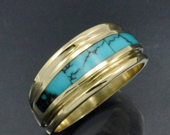 14k Gold Turquoise Inlay Band