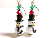 Snowman Earrings, Christmas Earrings, Holiday Earrings, Winter Earrings, Green Red Fun Adorable Christmas Earrings - Elegencebyelaine