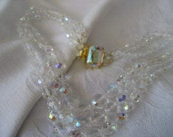 VINTAGE 3 Strand Crystal Bead Costume Jewelry Necklace