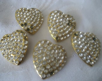 Set of 5 Large VINTAGE Heart Shape Rhinestone in Gold Metal BUTTONS