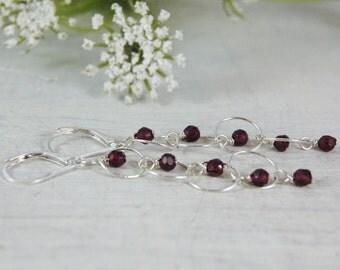 Red Garnet Earrings Modern light sterling silver chain