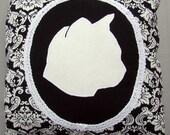 "YourPet Silhouette - Custom Cushion Cover - 12"" Sq. Throw Pillow Sham - Pet Cameo"