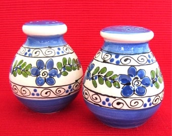 Bright Blue Salt and Pepper Shakers