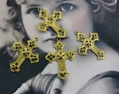 Raw Brass Filigree Cross Charms 518RAW  x4