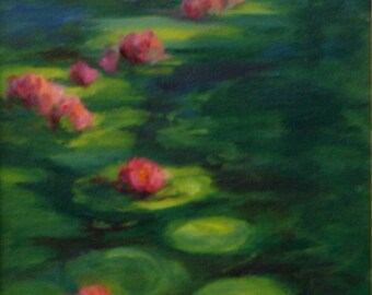 Oil Painting Original EVENING LILIES 20x10 by Janelle Goodwin